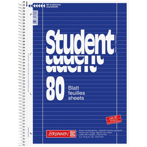 Brunnen Collegeblock APN A4 80 Blatt Lineatur 27 blau
