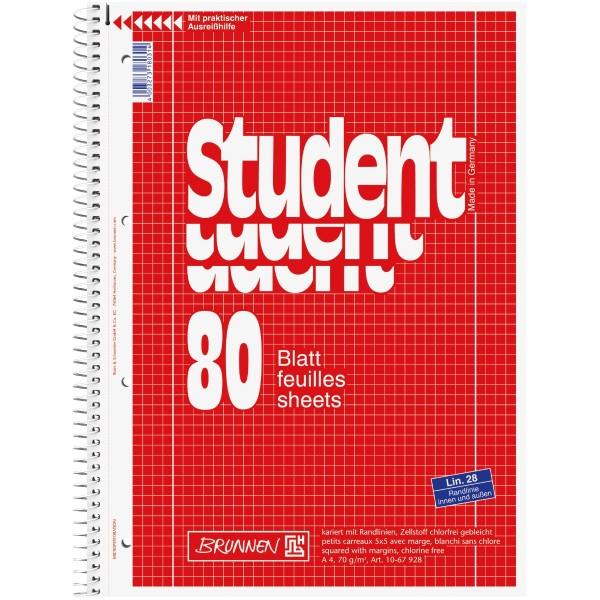Brunnen Collegeblock APN A4 80 Blatt Lineatur 28 rot