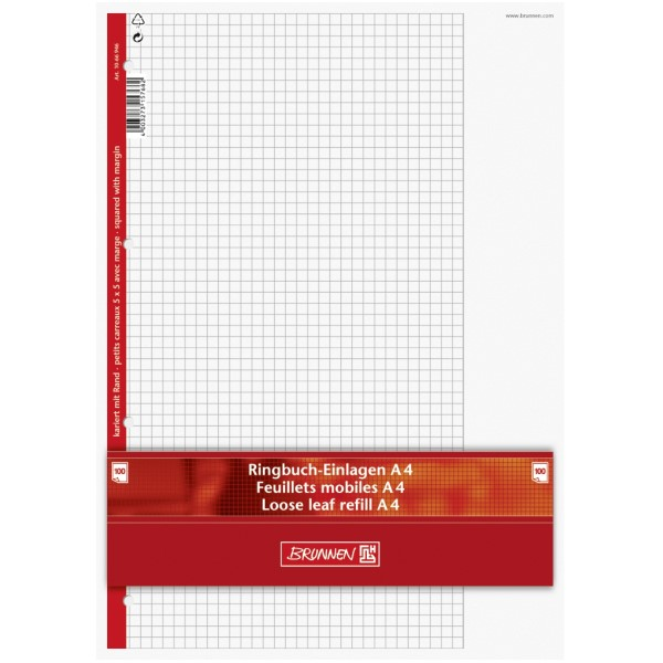 Brunnen Ringbucheinlagen A4 100 Blatt kariert mit Rand, Lin. 26
