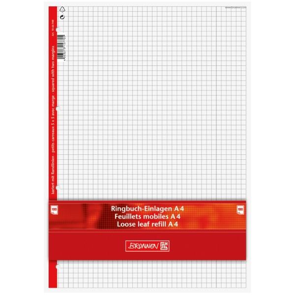 Brunnen Ringbucheinlagen A4 100 Blatt kariert mit 2 Randlinien, Lin. 28