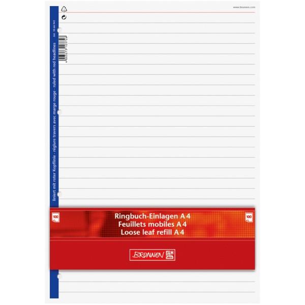 Brunnen Ringbucheinlagen A4 100 Blatt liniert mit roter Kopflinie