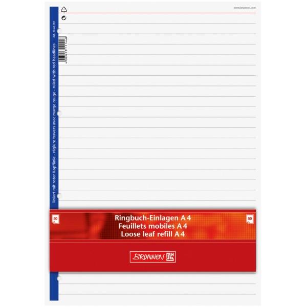 Brunnen Ringbucheinlagen A4 50 Blatt liniert mit roter Kopflinie