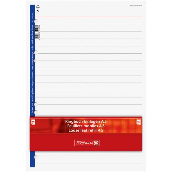 Brunnen Ringbucheinlagen A5 100 Blatt liniert mit roter Kopflinie