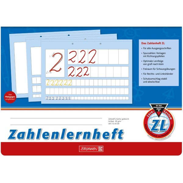Brunnen Zahlenlernheft A4 quer Lineatur ZL