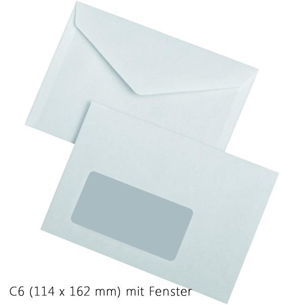 Briefumschläge DIN C6 weiß selbstklebend mit Fenster