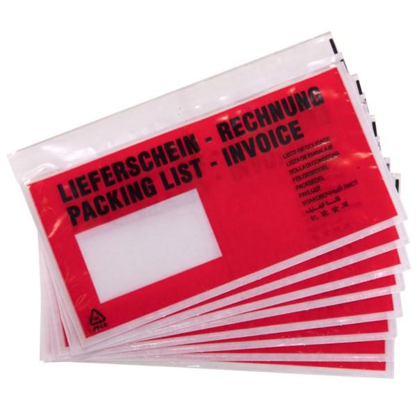 docuFix Begleitpapiertaschen mit Aufdruck Lieferschein - Rechnung