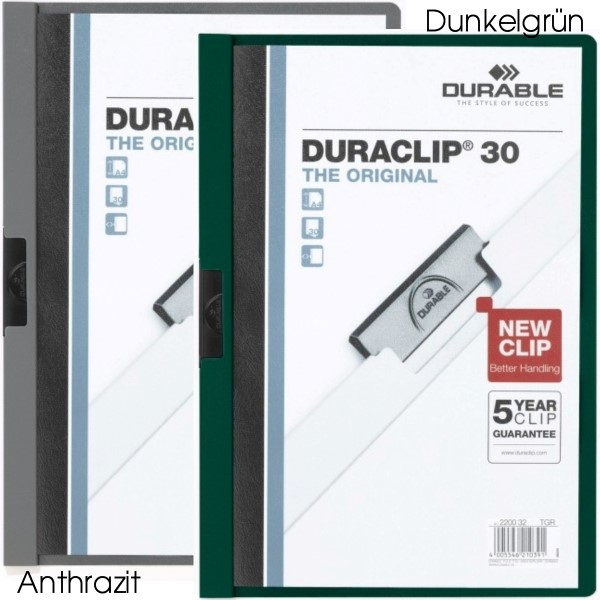Durable Duraclip 30 Klemmmappe petrol / dunkelgruen