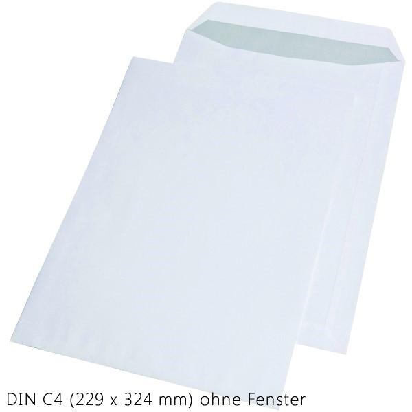 Papprückwandtasche weiß selbstklebend ohne Fenster