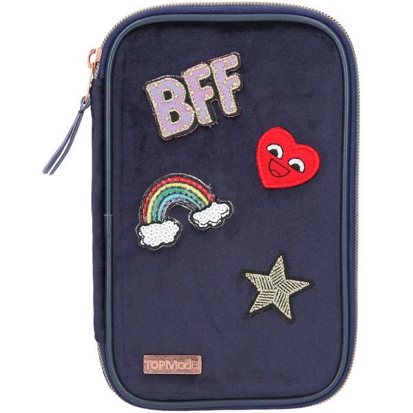 Depesche TOPModel Schlampertasche gefüllt VELVET dunkelblau BFF 10223