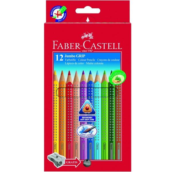 Faber-Castell Jumbo Grip Farbstift 12er Kartonetui + Spitzer