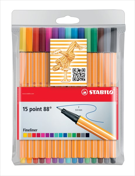 Stabilo Fineliner point 88  15er Etui 8815-1