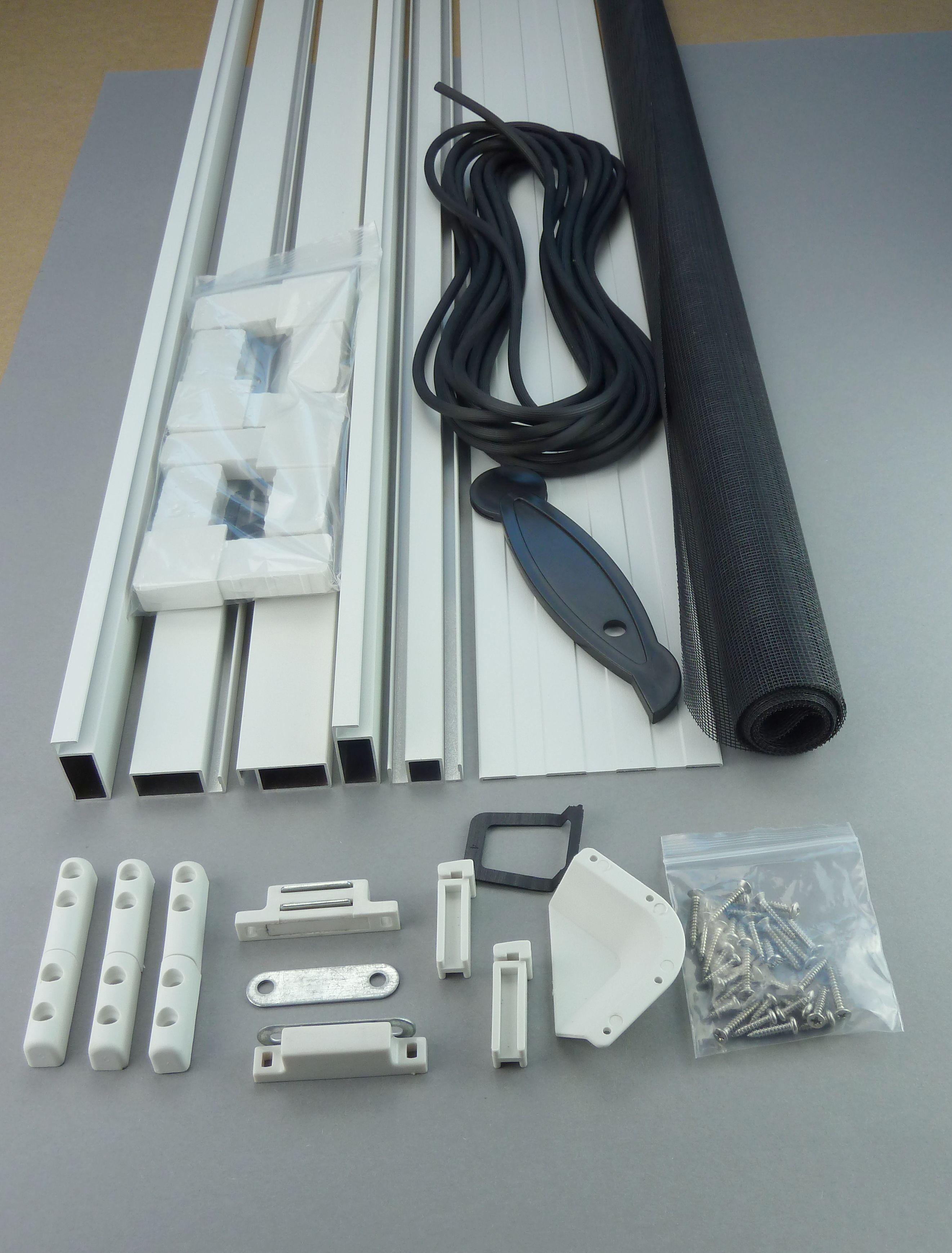 Fliegengitter-Tür - Bausatz mit Einzelteilen in weiss